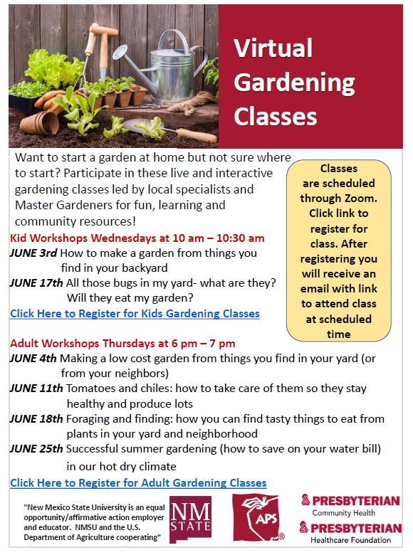 Zoom Summer Garden Programs Schedule
