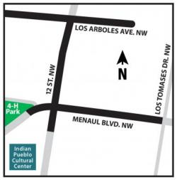 Map of detours scheduled for roads near intersection of 12th St NW & Menaul Blvd NW. On 12th St NW, from in from of Indian Pueblo Cultural Center north Los Arboles Avenue NW.  On Menaul Blvd NW, from the 4-H Park east to Los Tomases Dr. NW.<br>